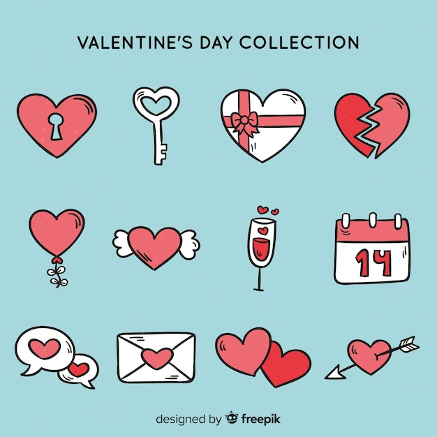 Doodle valentine's day elements Free Vector
