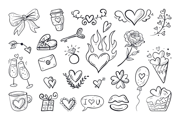 Doodle valentines day element collection Free Vector