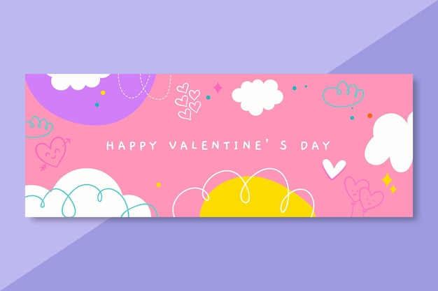 Doodle valentines day facebook cover template Free Vector
