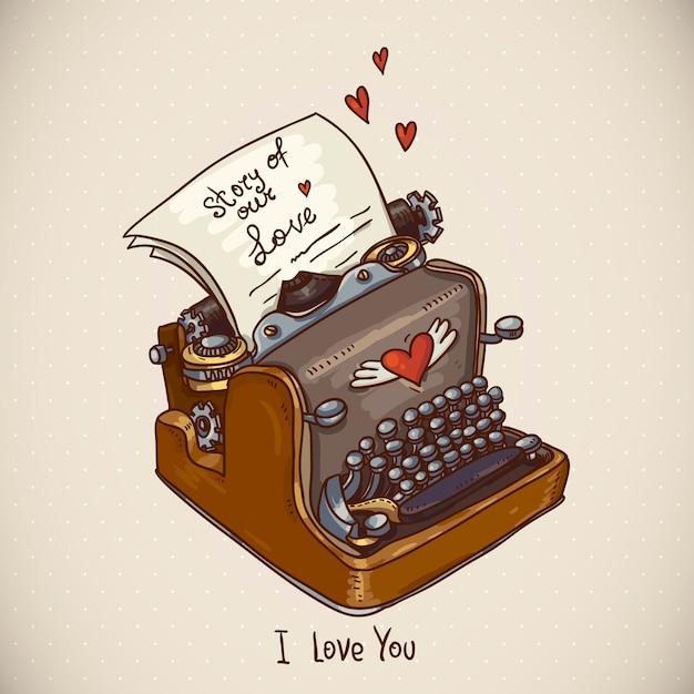 Doodle vintage greeting card with retro typewriter Premium Vector