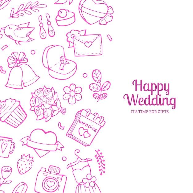 Doodle wedding with copyspace illustration Premium Vector