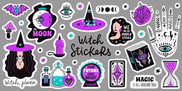 Doodle witchcraft magical stickers. occult magic hand, witch mystical symbol, witchcraft hand drawn arms with moon and crystal illustration icons set. spiritual witchcraft, mystic esoteric elements. Premium Vector