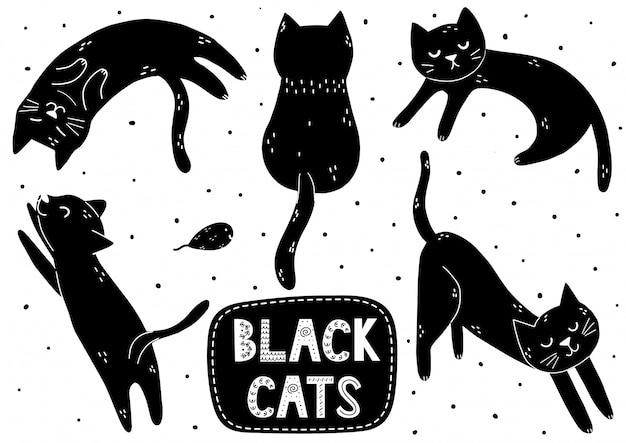 Симпатичный черный кот набор. doodle котенок в разных позах коллекции Premium векторы