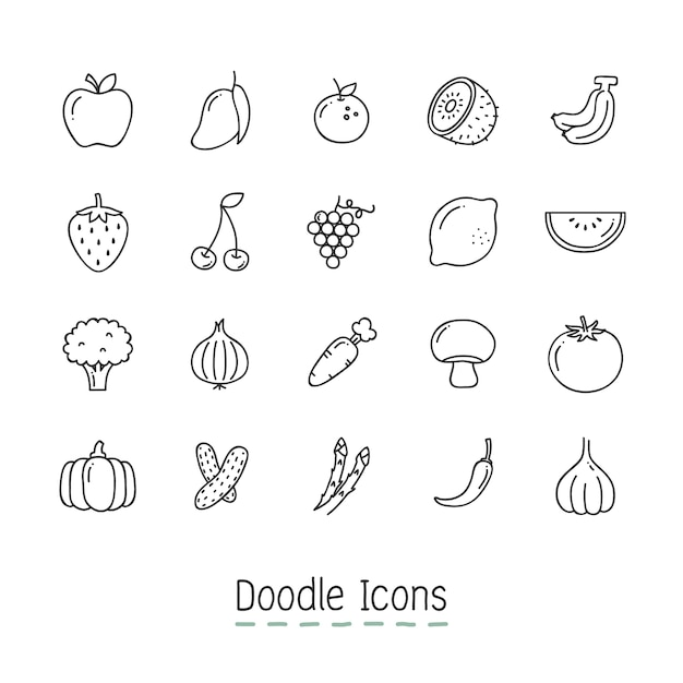 Doodle фрукты и овощи иконки. Бесплатные векторы