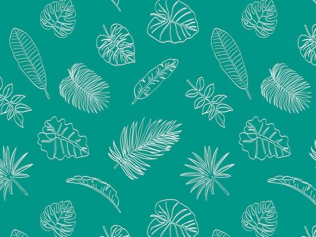 Тропические листья doodle бесшовные шаблон Premium векторы