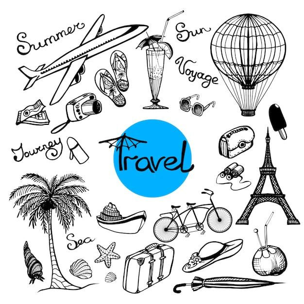Набор doodle путешествия Бесплатные векторы