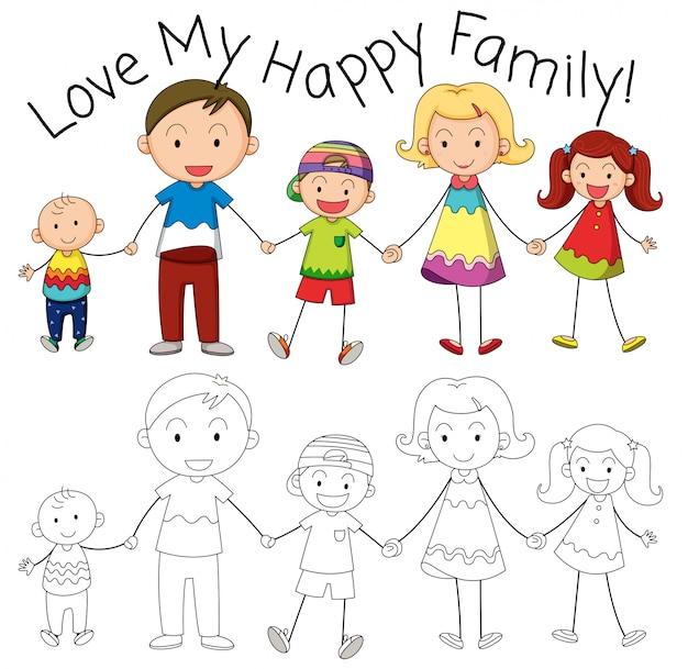 Doodle家族のキャラクター 無料ベクター
