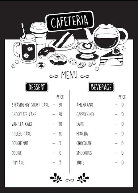 Кафетерий, doodle кафе меню с десертом и напитками. Premium векторы