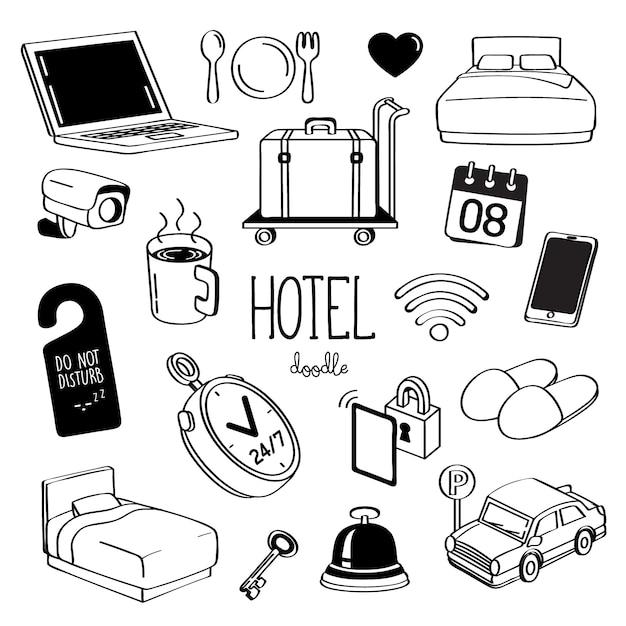 Стили ручного рисования для предметов отеля. doodle гостиничный сервис. Premium векторы