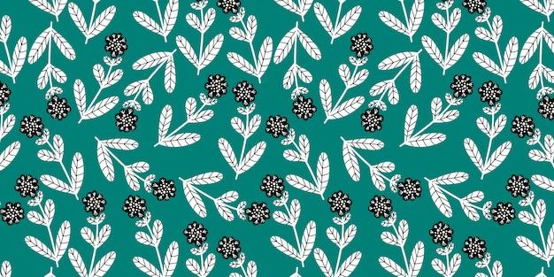 Горизонтальная безшовная картина с милыми цветками doodle на зеленой предпосылке, Premium векторы