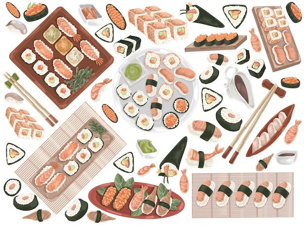 Суши роллы, восточная кухня, набор морепродуктов doodle. Premium векторы