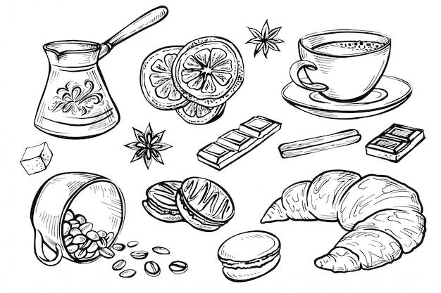 Doodle, набор кофейных рисунков Premium векторы
