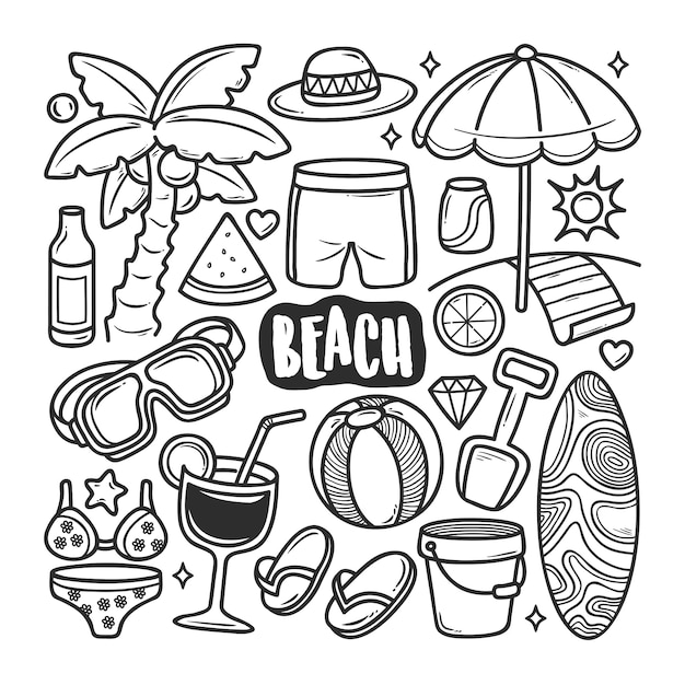 Пляж иконки рисованной doodle раскраски Premium векторы