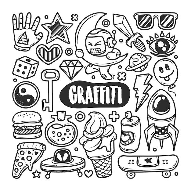 Граффити рисованной doodle раскраски Premium векторы