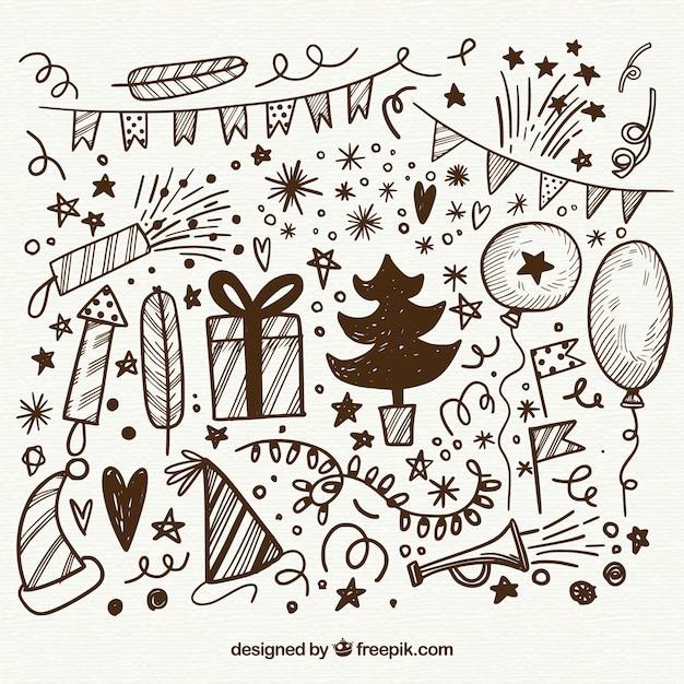 Элементы нового года doodle Бесплатные векторы