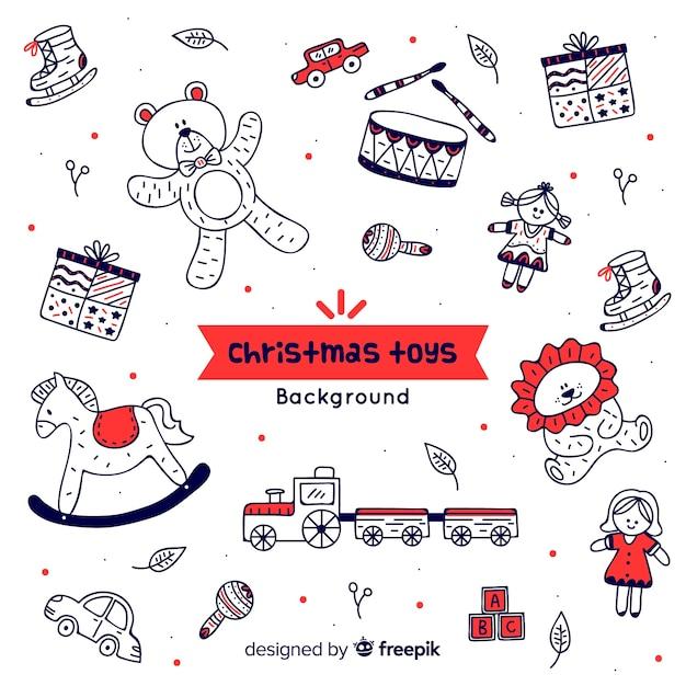 Рождественский фон игрушки doodle Бесплатные векторы