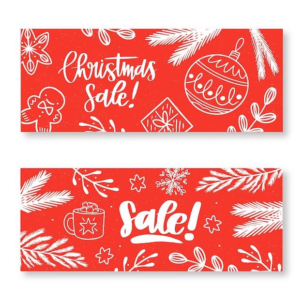 Doodle рождественские продажи баннеров в красных тонах Бесплатные векторы