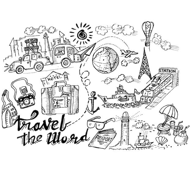 Путешествовать словом doodle Premium векторы