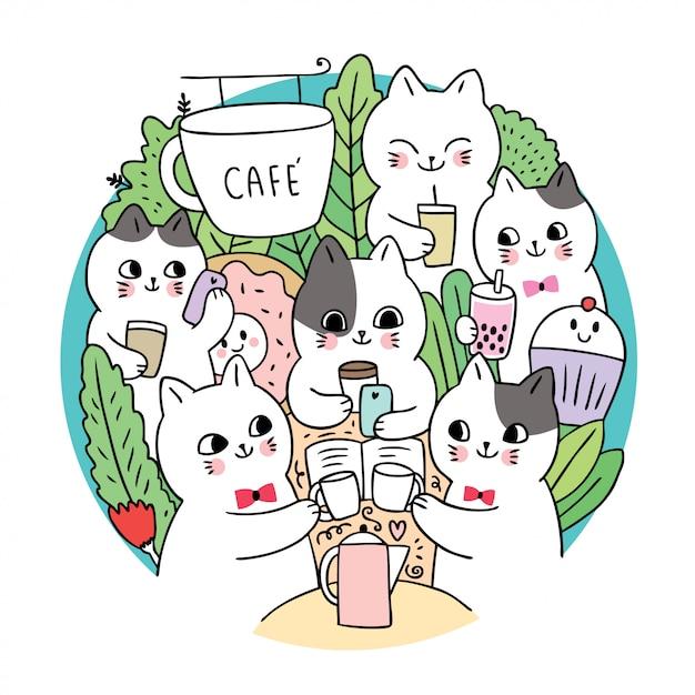 Doodle мультфильм милые кошки и кофе круг вектор. Premium векторы