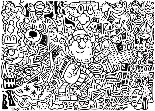 Векторная иллюстрация doodle рождественские фон Premium векторы