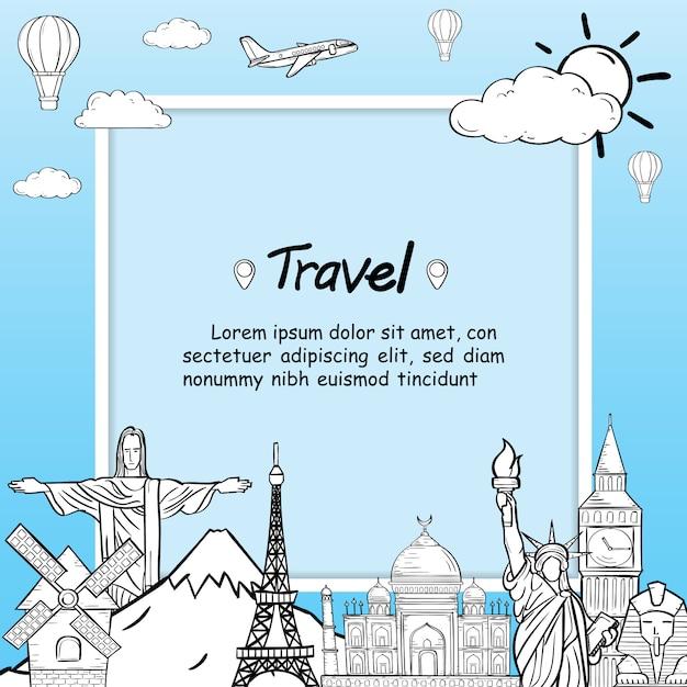 Doodle самолет вокруг мира летом баннер самолет антенна. Premium векторы
