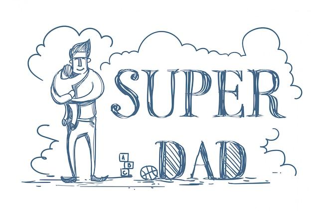 Супер папа doodle плакат с мужчиной, обнимая малыша Premium векторы