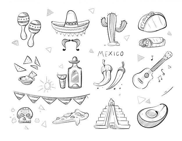 Doodle мексиканская еда, текила Premium векторы
