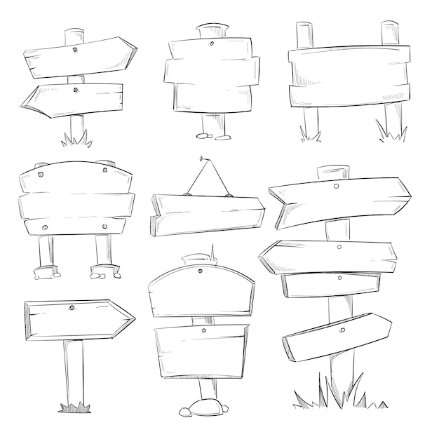 Doodle木製の看板、手描きの木製の方向矢印セット Premiumベクター