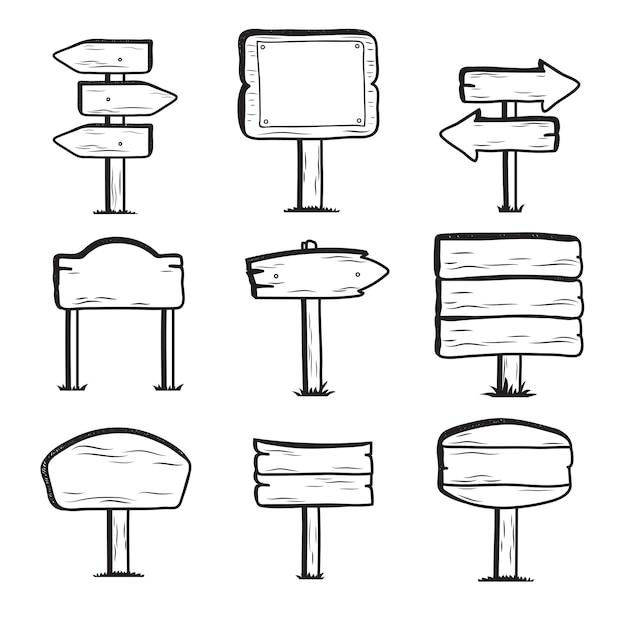 Ручной обращается деревянные дорожные знаки, doodle знак пост иконы Premium векторы