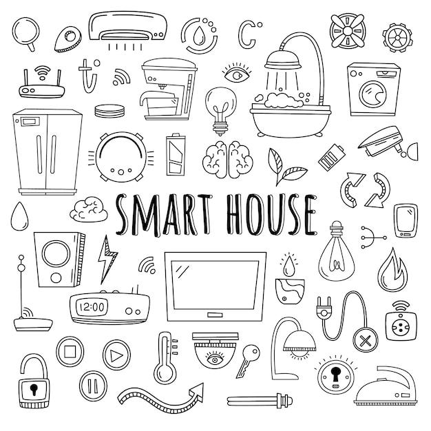 Умный дом. векторный набор элементов и оборудования для системы умный дом. doodle стиль Premium векторы