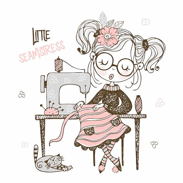 Милая девушка швея шьет на платье швейной машины. doodle стиль Premium векторы