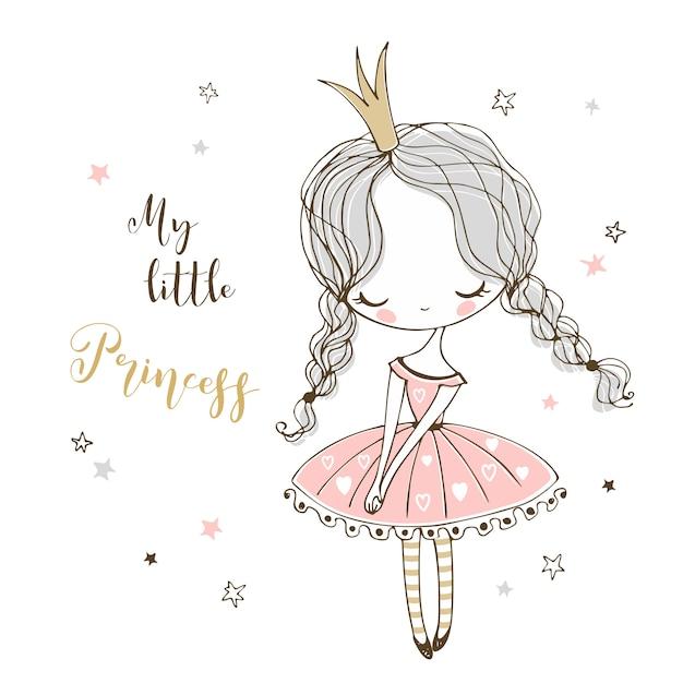 Милая маленькая принцесса в стиле doodle. Premium векторы