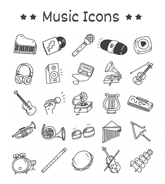 Набор иконок музыкальных инструментов в стиле doodle Premium векторы