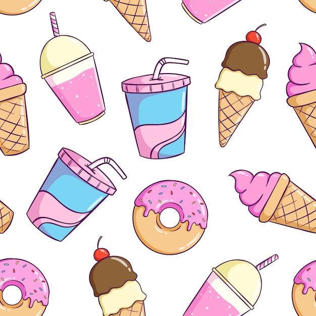 Безшовная картина милой еды с красочным стилем doodle Premium векторы