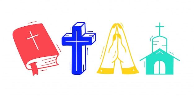 Симпатичные рисованной христианской темы doodle коллекции в белом фоне изолированные. Premium векторы