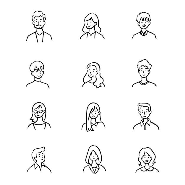 Doodle комплект работников офиса воплощения, жизнерадостных людей, нарисованного вручную стиля значка, дизайна характера, иллюстрации. Premium векторы