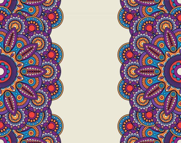 Doodle витиеватые цветочные бордюры Premium векторы
