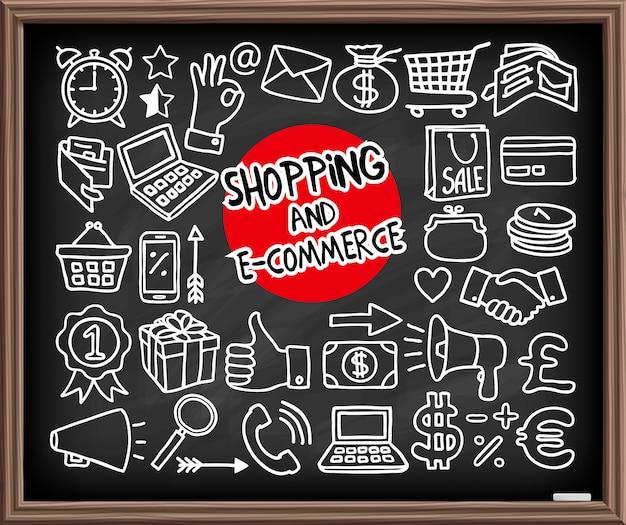 Doodle шоппинг иконки Premium векторы