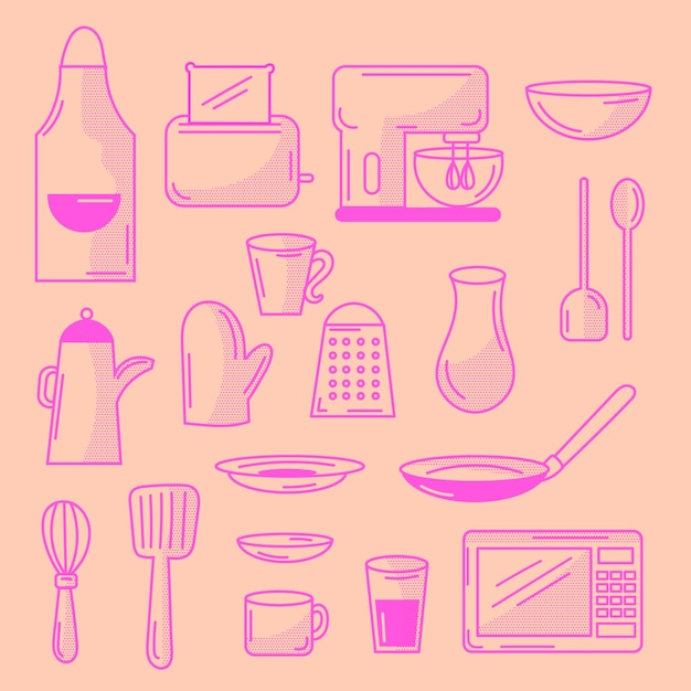 Doodled kitchen elements set Free Vector