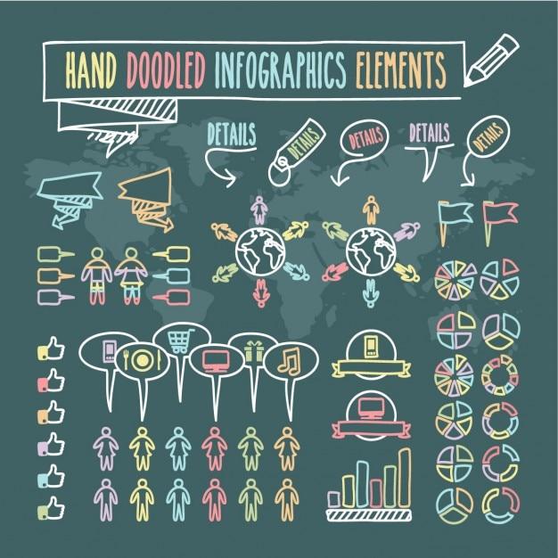 Рука doodled инфографика элементы Бесплатные векторы
