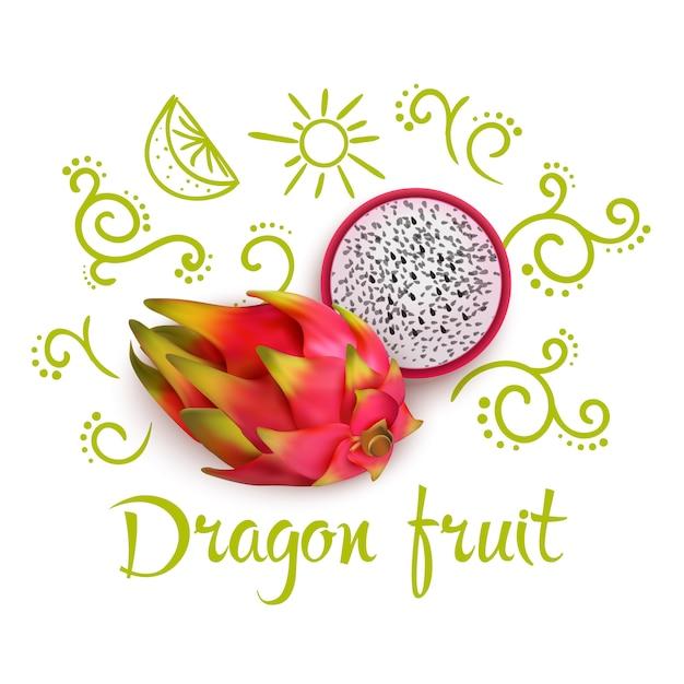 Doodles around dragon fruit Free Vector
