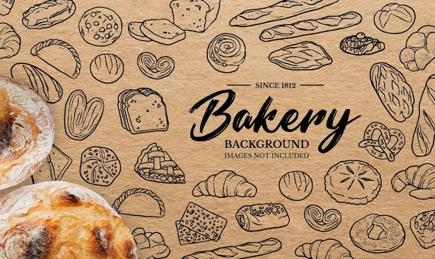 Doodles background for bakery Free Vector