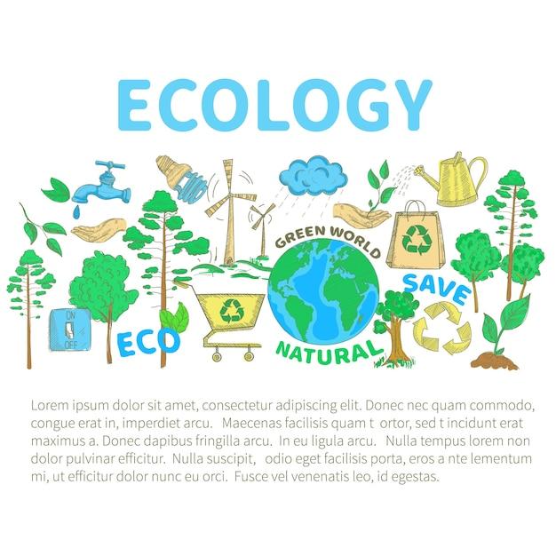 Doodles ecology set 無料ベクター