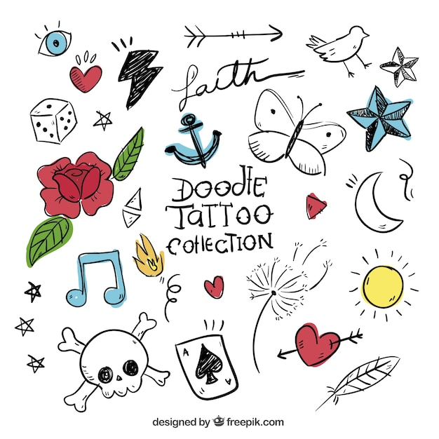 Doodles set of colored tattoos Free Vector