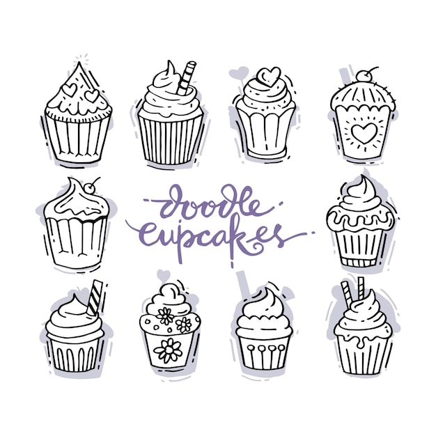 Doodles set with decorated sweet cupcakes Premium Vector