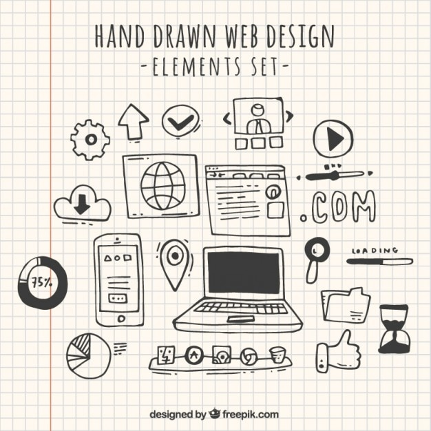 Doodles web design element collection Free Vector