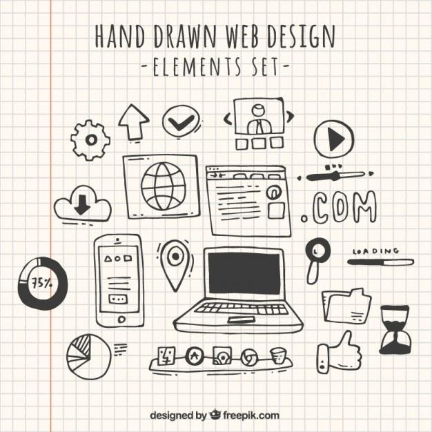 Doodles web design element collection Free Vector