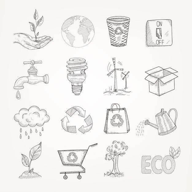 Комплект экологии doodles Бесплатные векторы