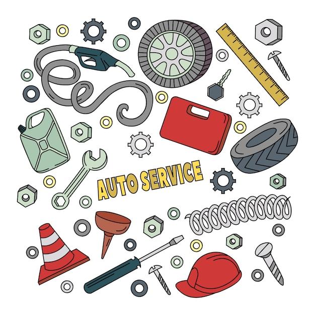 Doodles шаржа милые нарисованная рукой автоматическая иллюстрация обслуживания. Premium векторы