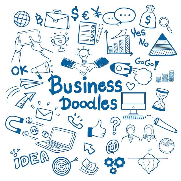 Бизнес ручной обращается doodles фон вектор Premium векторы